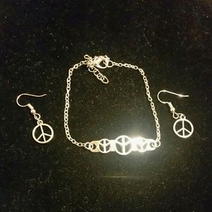 Jewelry - Silver plated peace sign bracelet & earrings set